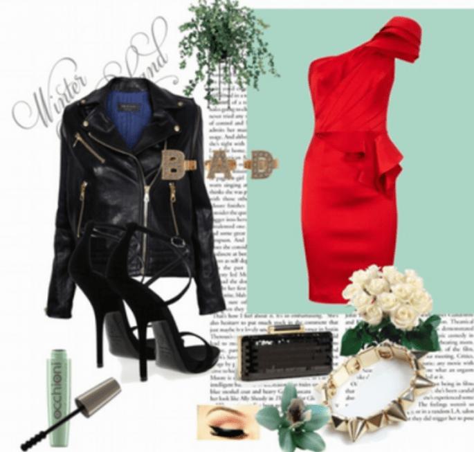 Look para una dama de boda con estilo rockero - Foto Collage hecho con Polyvore
