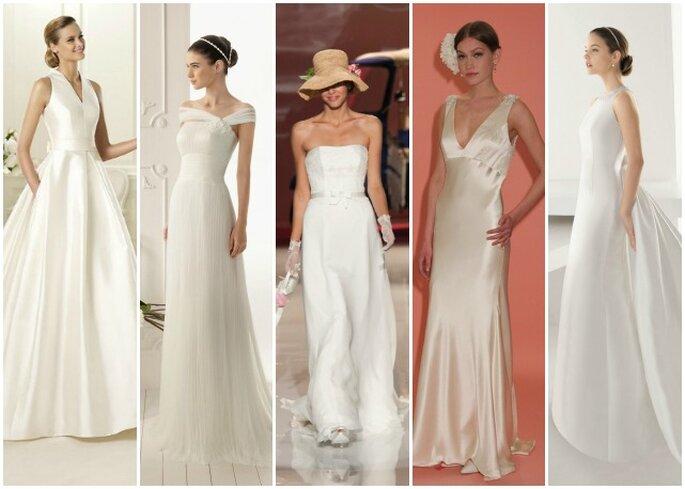 Tante proposte per la sposa che ama uno stile sobrio e minimal. Da sinistra: Pronovias, Aire Barcelona, Nicole Spose, Badgley & Mischka, Rosa Clarà.