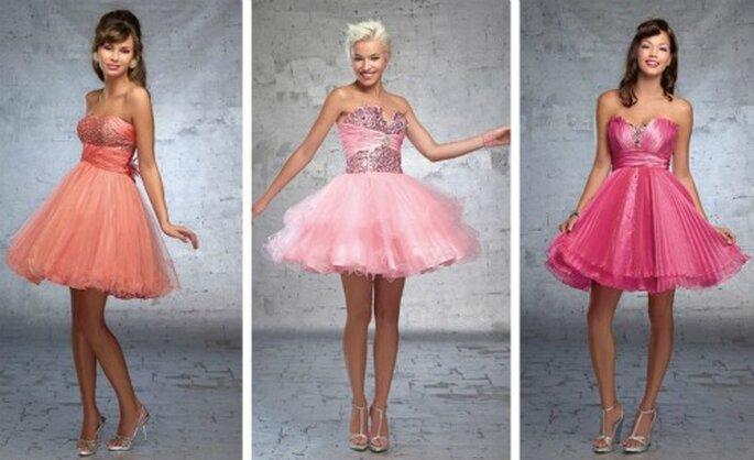 Tre modelli corti e frizzanti per invitate giovani...e con belle gambe da mostrare! Demetrios Collezione 2012