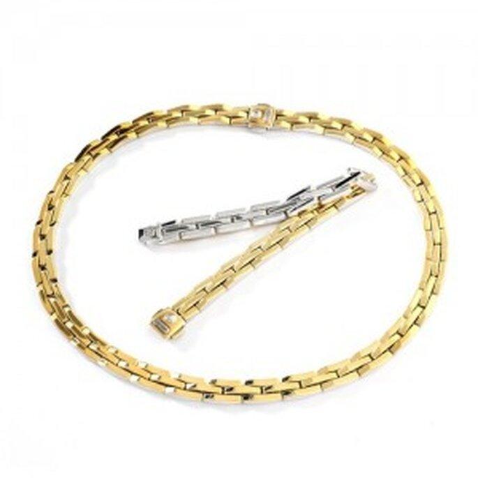 Bracciale e girocollo reversibili in oro giallo e bianco della linea Double. Foto: www.chimento.it