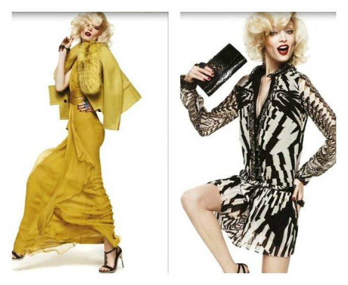 Deux robes signées Roberto Cavalli. Collection A/H 2012-13. Photo : www.robertocavalli.com