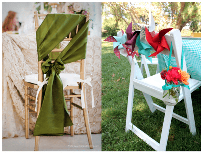 Decoración para las sillas del banquete de bodas - Fotos Archetype Studios Inc y Iliana Morton Photography