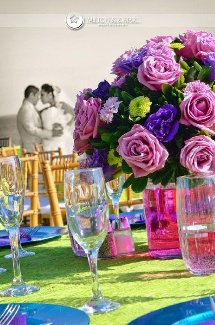El estilo de boda elegir los colores para decoración. Foto de Milton Rios Fotografía