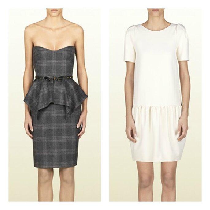 Robes courtes Gucci: à gauche, bustier à basque asymétrique ; à droite robe blanche ultra raffinée. Photo: Gucci