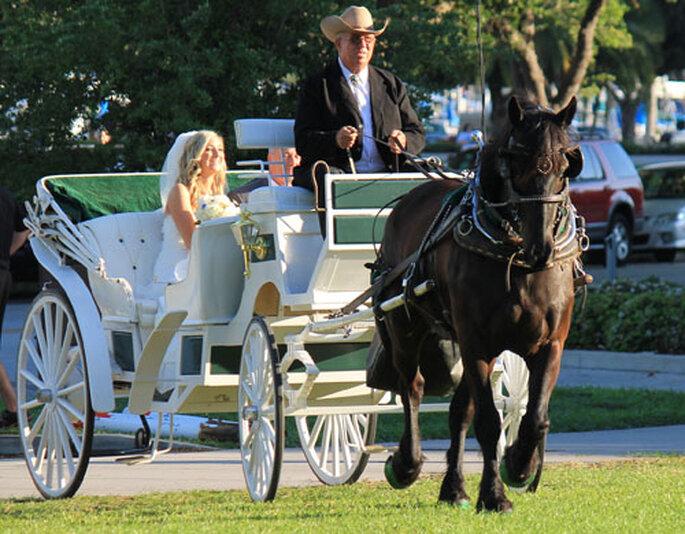 L'arrivo della sposa in carrozza, romantico e un pò retrò. Foto via St. Petersburg Carriages