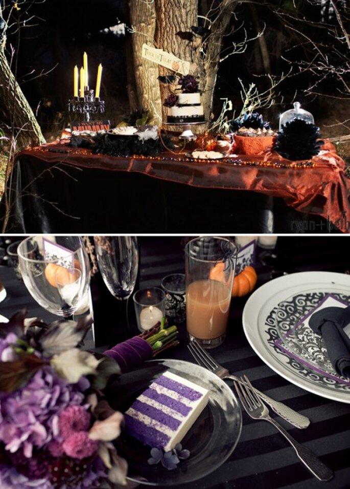 Mesas de postres y decoración de mesas para una boda en Halloween - Foto Ryan + Beth Photographers y Jessica Hill Photography