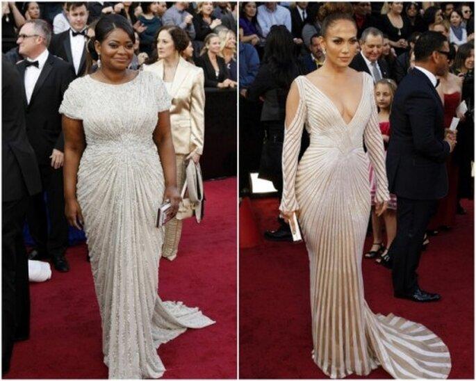 Vestidos blancos en los Oscar 2012. Octavia Spencer y JLo