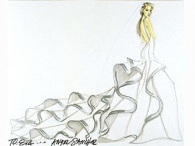 Boceto del traje de novia diseñado para la actriz Eva Longoria