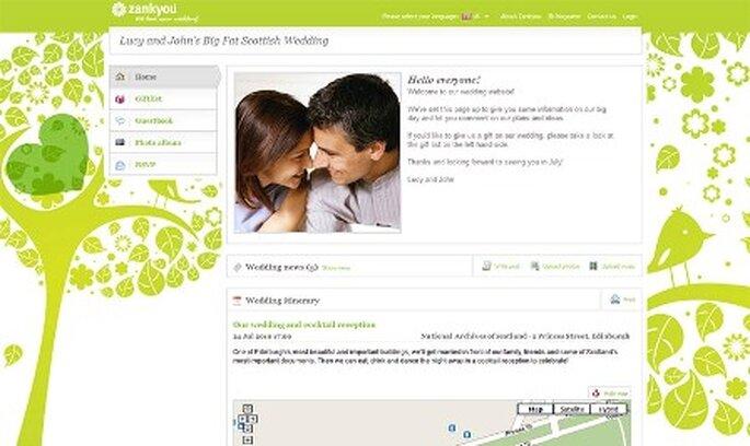 Erstellen Sie eine Hochzeitswebsite ganz an Ihre Bedürfnisse angepasst mit Zankyou