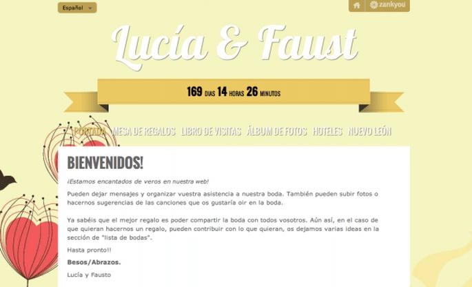 Página web de bodas