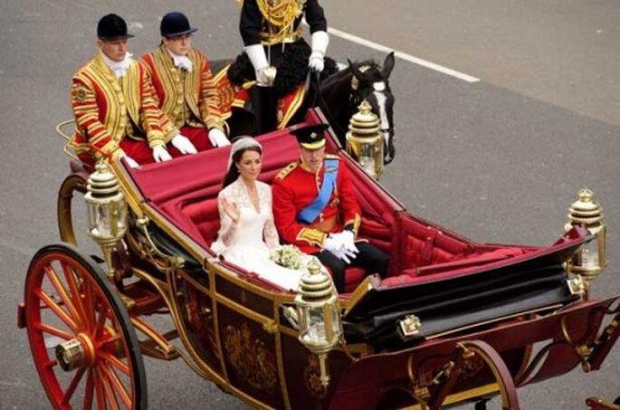 Carruaje de Catalina y William, boda real de Inglaterra.