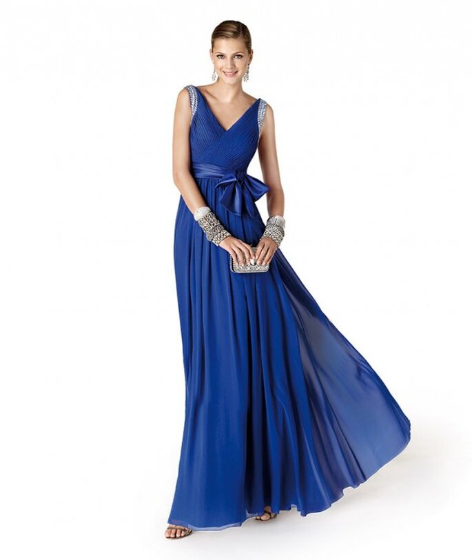 Damas Azul Rey Boda en Color Azul Rey Con