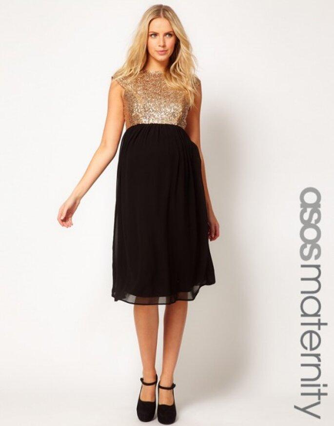 Vestido de fiesta para invitada de boda embarazada en color negro y top dorado - Foto ASOS