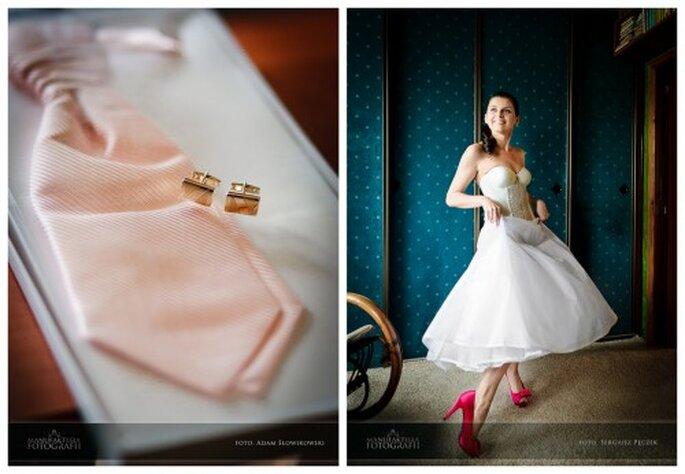 różowy krawat ślubny