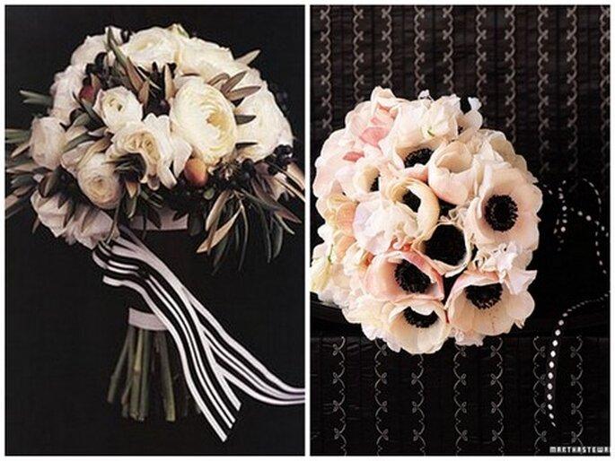 Original ramo de novia de invierno en rosa y negro. Fotos de Events by Heather Ham y Martha Stewart Weddings