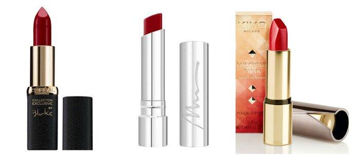 Photo (de gauche à droite) : L'Oréal Paris - Color Riche Collection Exclusive L'Oréal Paris / Marionnaud Make-up : Rouge à lèvres Démesure / Kiko : Rouge à lèvres ultra-brillant.