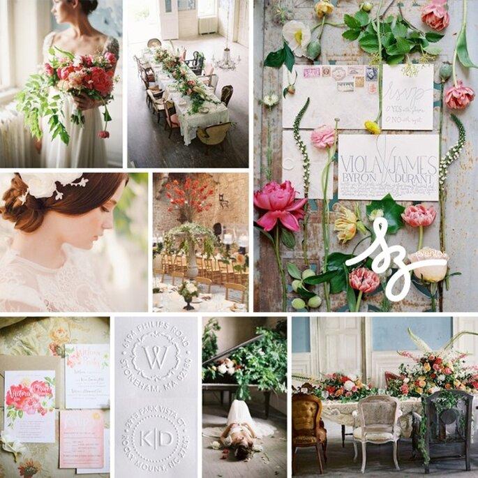 Inspírate en un mágico jardín de flores para tu boda - Foto Anne Robert Photography, Adrienne Gunde Photography y Marisa Holmes Photography