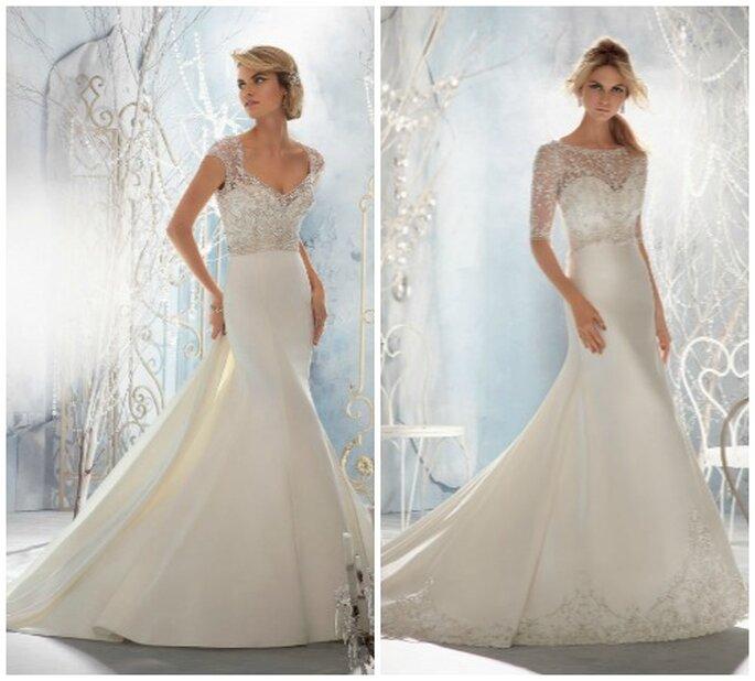 Due modelli con gonna liscia e corpetto lievemente decorato, per un effetto estremamente elegante e romantico. Mori Lee 2014 Bridal Collection. Foto: www.morilee.com