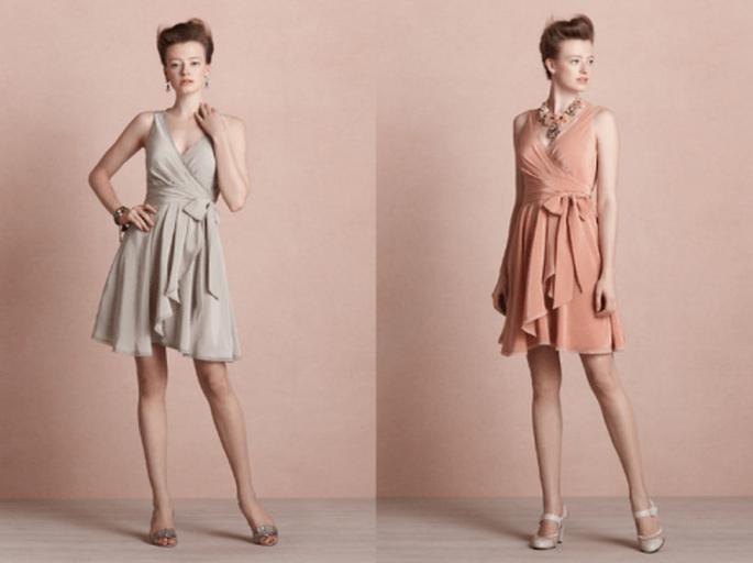 Vestidos cortos sin manga en colores nude para damas de boda - Foto BHLDN