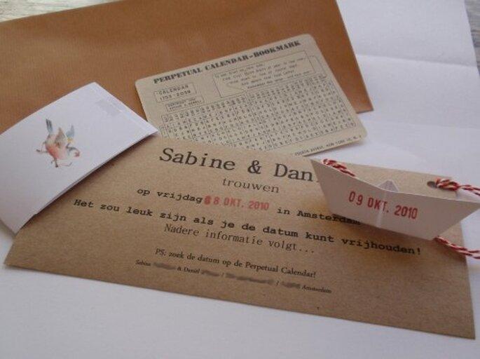 Invitaciones de boda hechas en casa. Foto Sabine via Fromfraai