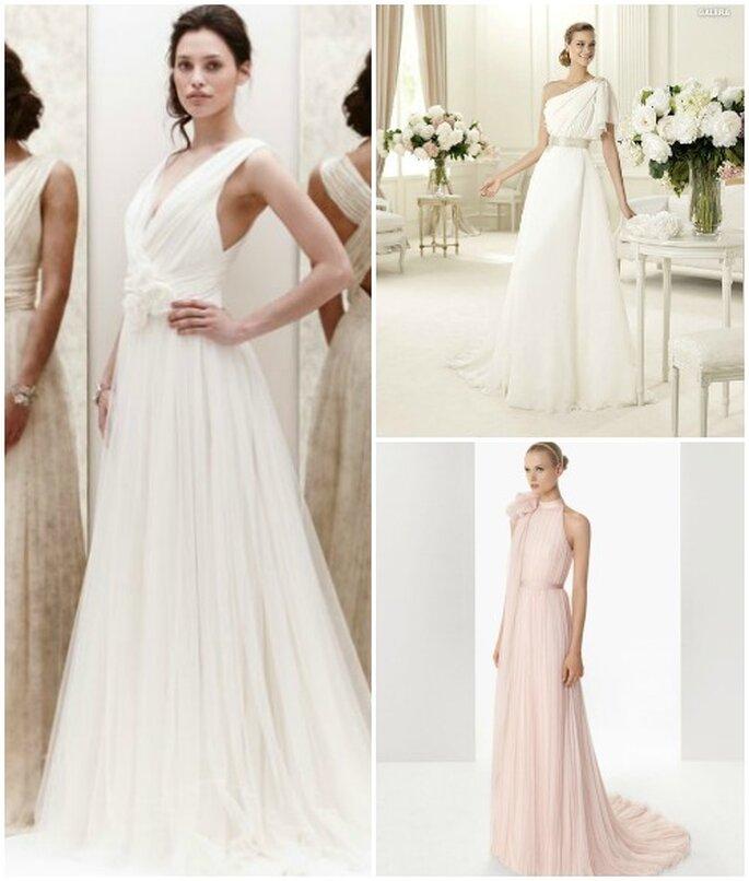 Trois robes de mariée en mousseline de soie avec ceinture. Jenny Packham 2013, Pronovias 2013 et Rosa Clarà 2013