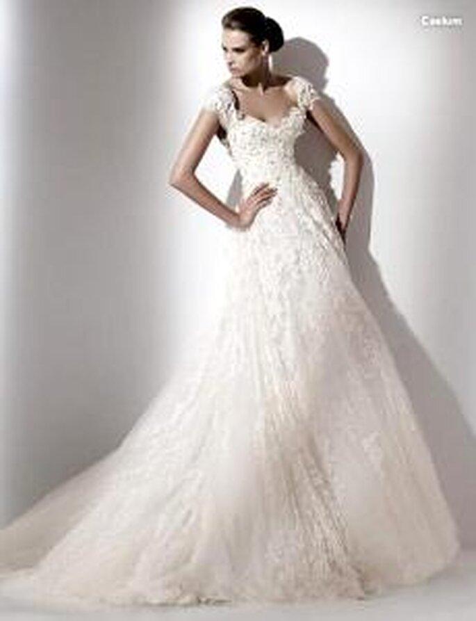 Elie Saab 2010 - Caelum, vestido largo en organza bordada, corte princesa, escote corazón