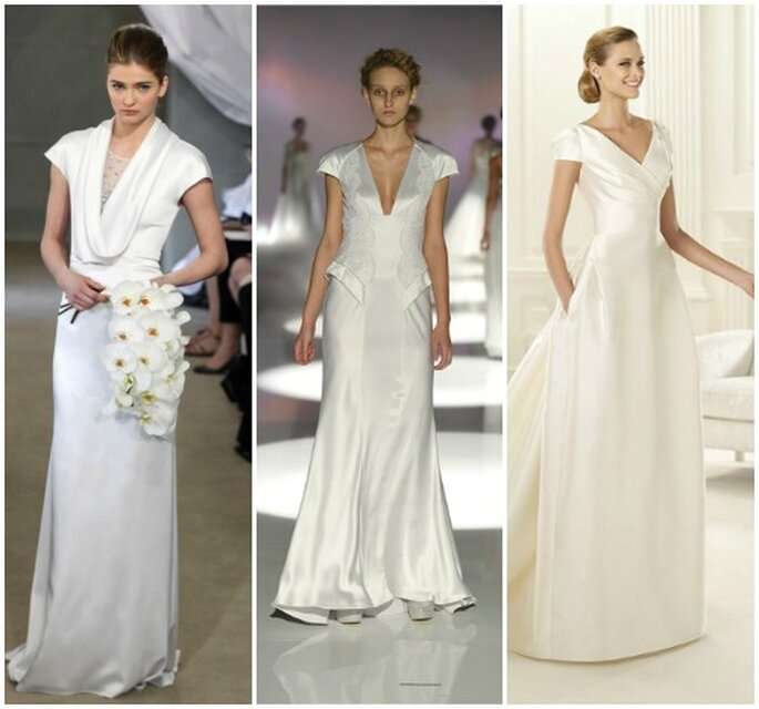 3 proposte minimal firmate Carolina Herrera Bridal Collection 2013, David Fielden 2013 e Pronovias 2013.
