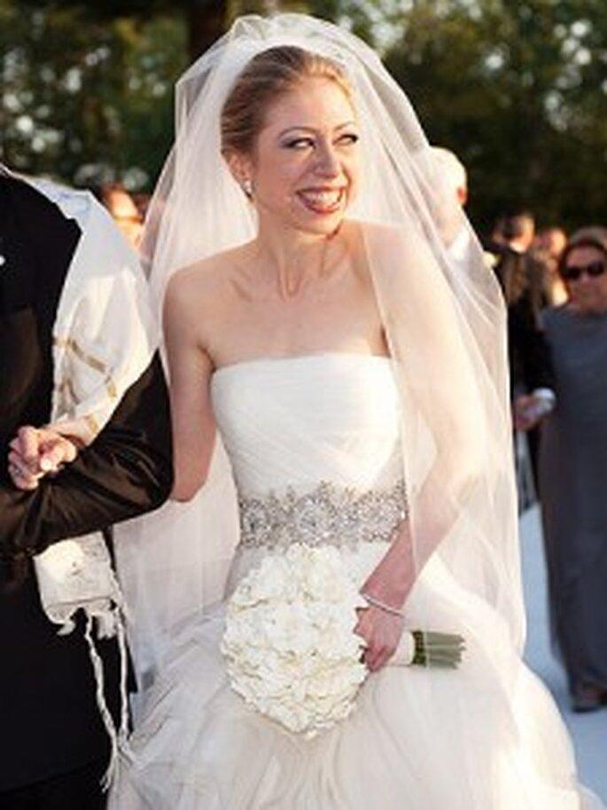 9. Chelsea Clinton colaboró con la diseñadora Vera Wang cuando eligió su vestido de boda.