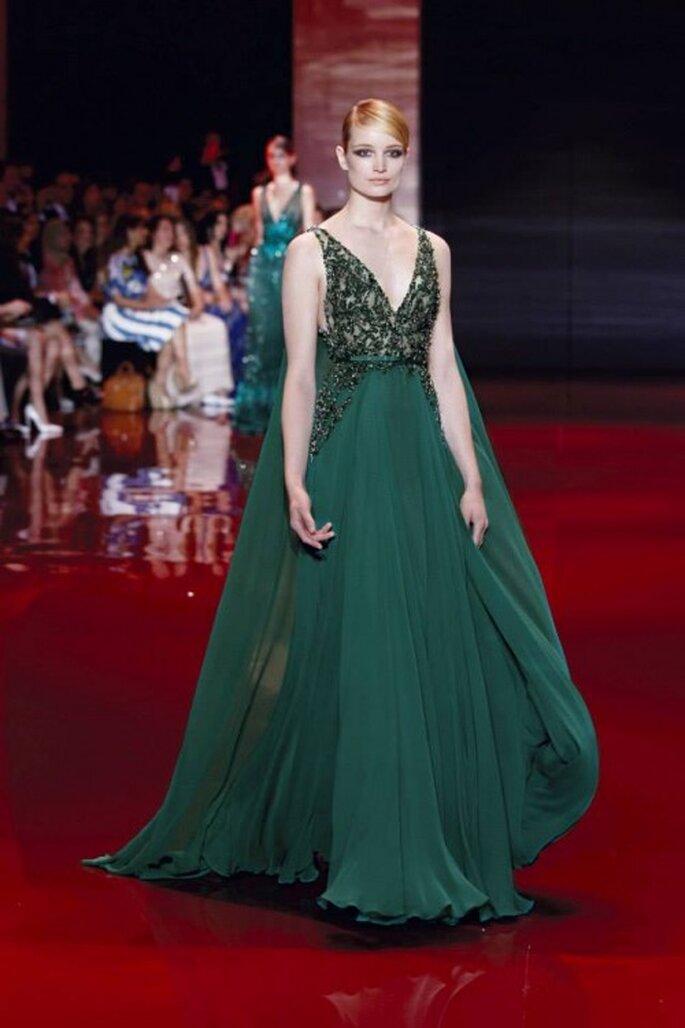 Vestido de gala color verde oscuro colección Elie Saab otoño-invierno 2013/2014 Foto - Elie Saab