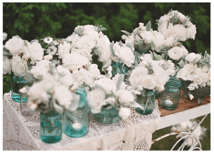 Decoración de boda con tarros de cristal - Foto Danielle Fletcher