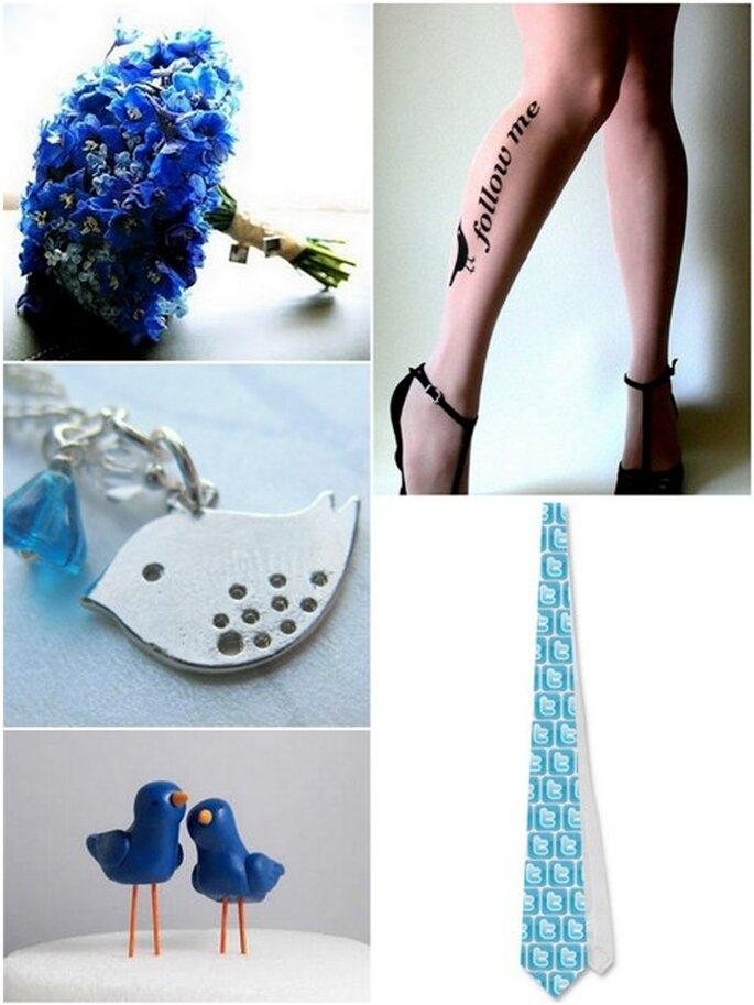 Accesorios para la boda: medias de tatuaje y collar de Etsy.com y corbata de Zazzle.com