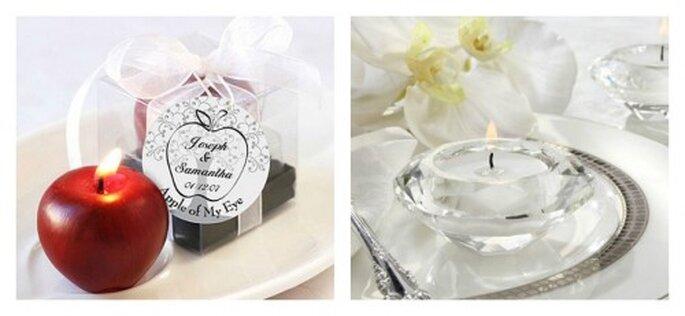 Puedes usar velas de diferentes formas como elementos decorativos en las mesas. Fotos: www.weddingdepotonline.com