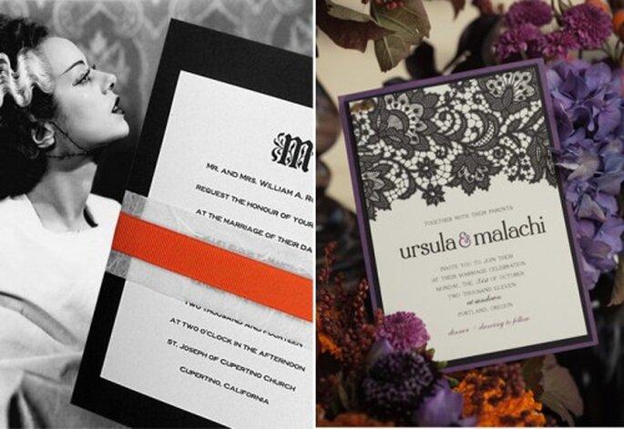 Invitaciones para una boda en Halloween - Foto Formal Invitations y Jessica Hill Photography en Style Unveiled