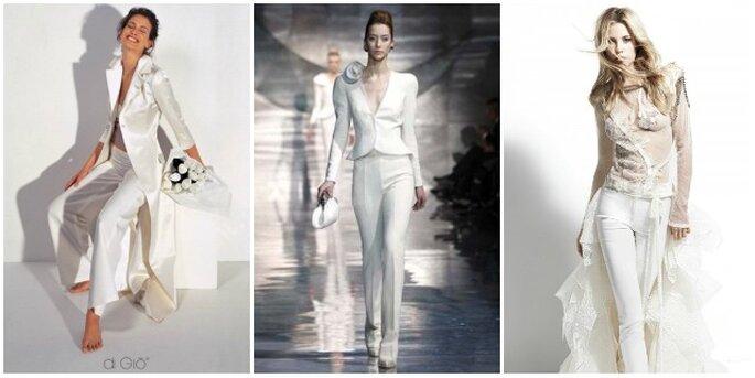 Da sinistra, modelli di Le Spose di Giò, Giorgio Armani e Yolan Cris