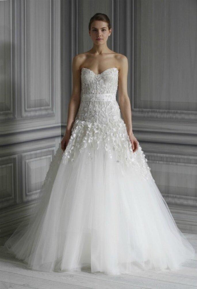 Vestido de novia en Tul y encaje. Monique Lhuillier 2012