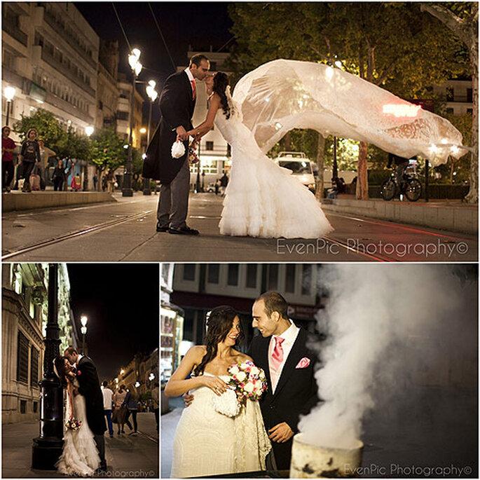 La pareja escogió Sevilla como telón de fondo de su álbum de boda. Fotos: Evenpic