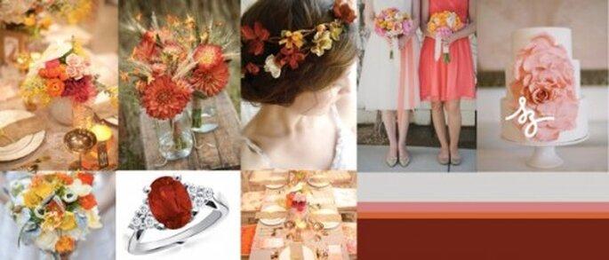 Collage de inspiración para decorar tu boda con flores en colores cálidos - Foto lovelybride.com, inspiredbythis.com, bashplease.com- Diseño de Raisa Torres para SZ Eventos