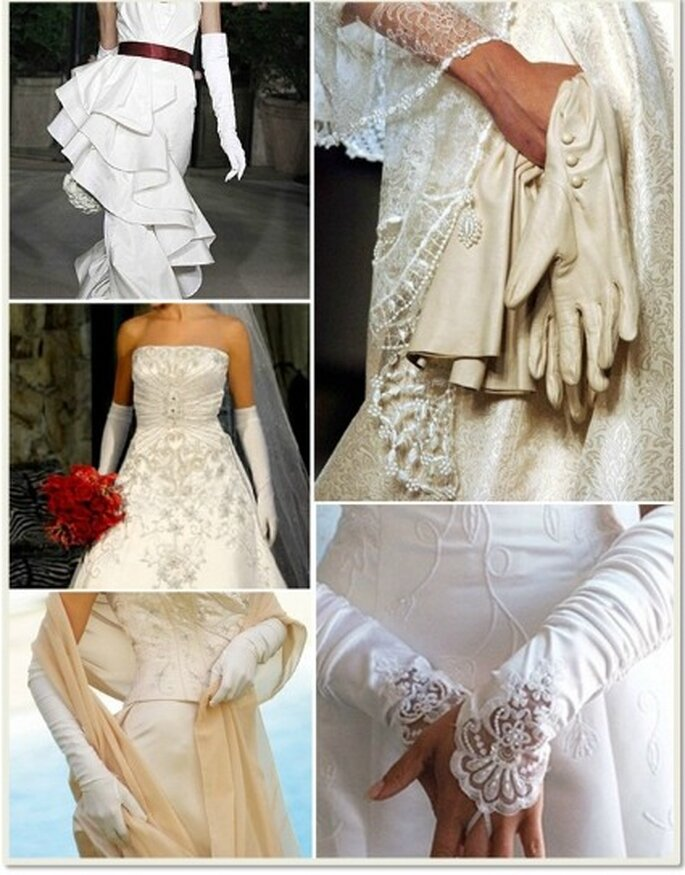 Hay guantes de novia en materiales como satín, encaje, chantillys, sedas