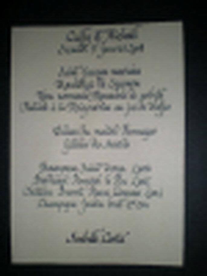 calligraphie menu de mariage