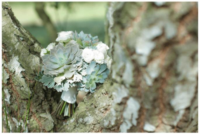 Decoración de boda con elegantes suculentas - Foto Fiona Kelly Photography