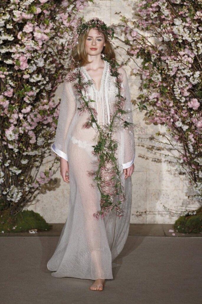 Vestido de novia organza de seda caftán de Oscar De La Renta