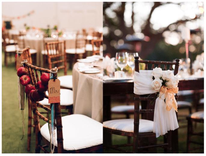 Decoración original para las sillas del banquete de bodas - Foto Halberg Photographers y Meg Smith