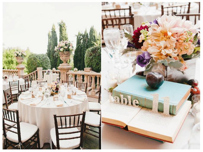 Libros en la decoración de tu boda - Foto Christine Farah
