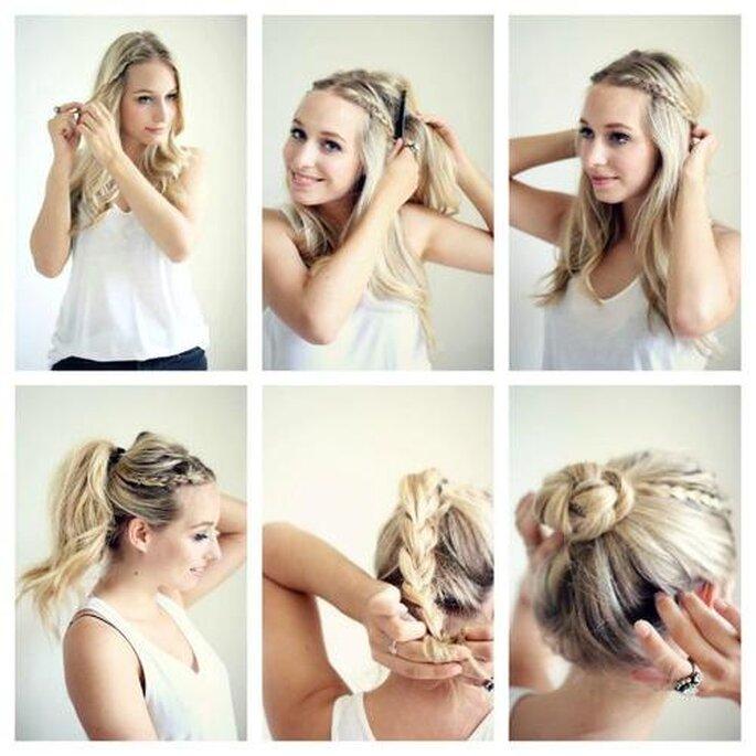 Inspírate en los tutoriales de internet para crear tu peinado de novia. Foto: E& the world