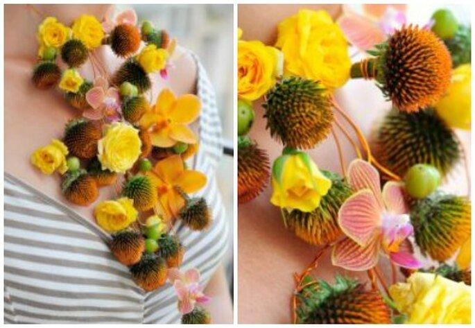 Biżuteria ślubna z żółtych kwiatów.
