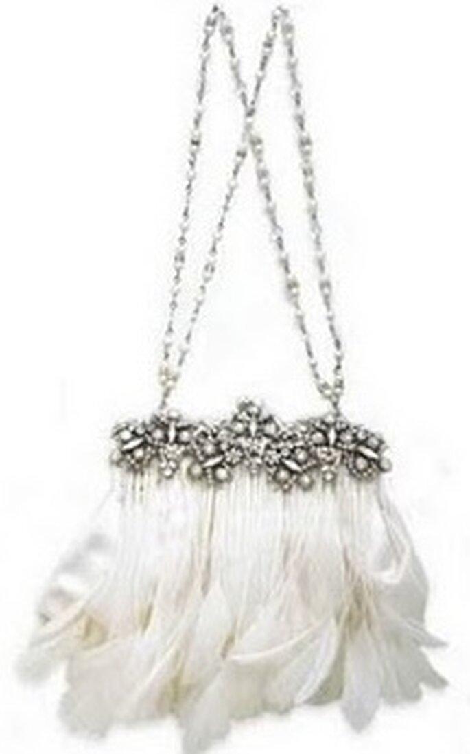 Bolso de novia con plumas estilo charleston