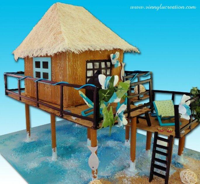 Urne de mariage bungalow : quoi de plus exotique ? - Vinnylu Création