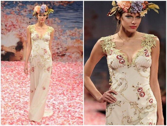 "Detalle del escote del vestido ""Olivia"", diseño de Claire Pettibone 2013"