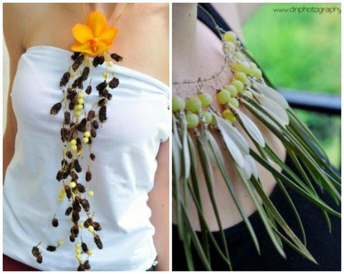 Naszyjniki z roślin. Biżuteria na ślub.