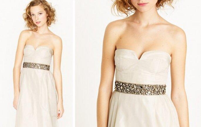 Elegante cinto lleno de pedreria para el vestido de novia - Foto J.Crew